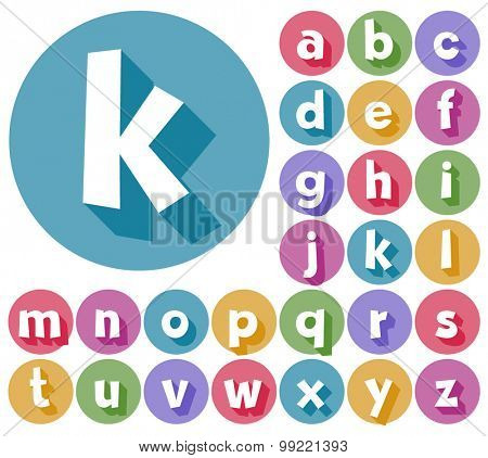 Colorful minimalistic vector alphabet in cartoon style. Lowercase letters
