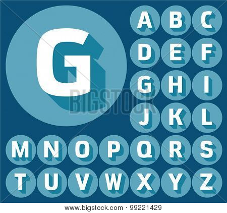 Colorful minimalistic vector alphabet in compact style. Uppercase letters