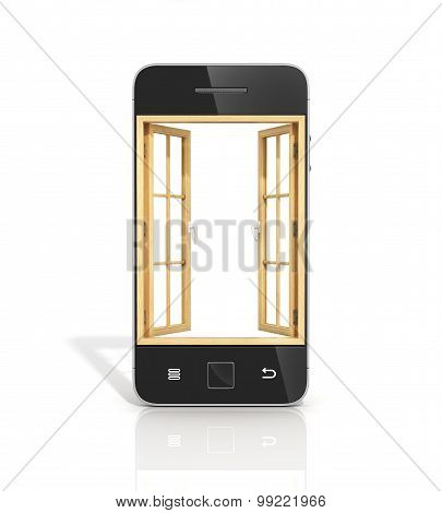 Concept Of A Window In New Vision. The Open Wooden Window In The Screen Of Smartphone.