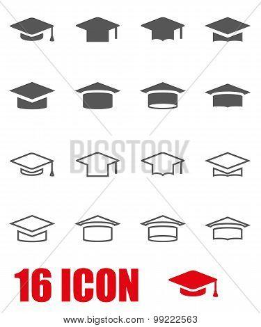 Vector Grey Academic Cap Icon Set