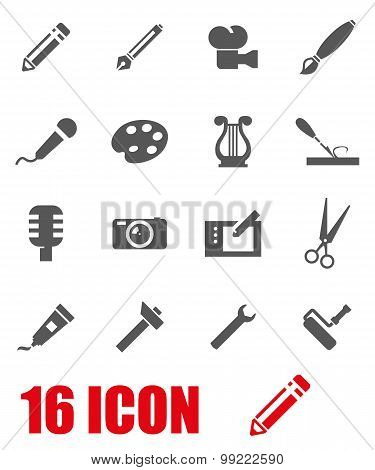 Vector Grey Art Tool Icon Set