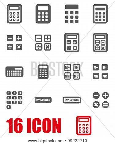 Vector Grey Calculator Icon Set