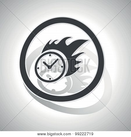 Burning clock sign sticker, curved