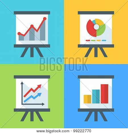Vector Set Of Flat Diagram And Chart Icons On The Board.