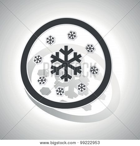 Snow sign sticker, curved
