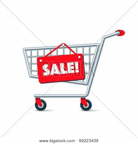 Empty Wire Shopping Cart With Red Sale Sign Board