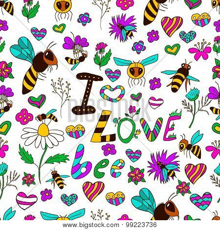 Seamless Pattern I Love Bee
