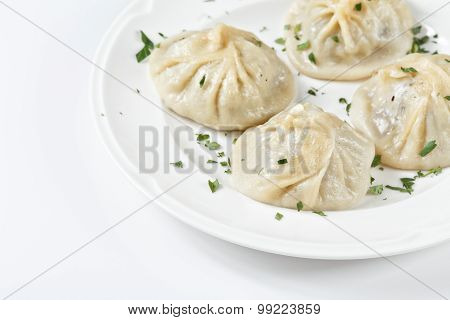 Traditional Georgian Khinkali Or Dumplings, Stuffed With Meat