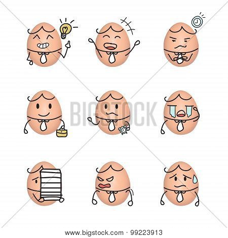 Egg emoticon - business man action cartoon cute to draw the line