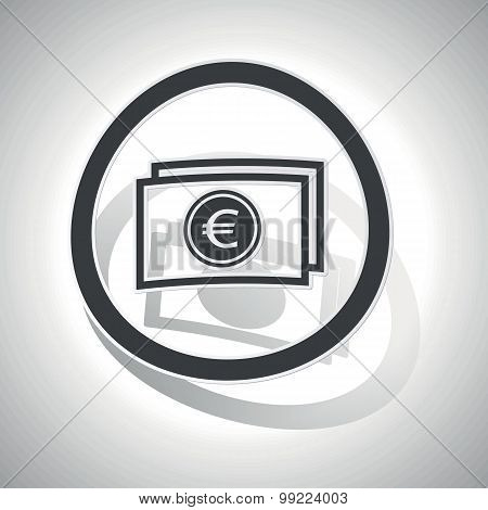 Euro banknote sign sticker, curved