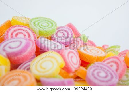 Jelly Sweet, Flavor Fruit, Candy Dessert Colorful On White Paper Background