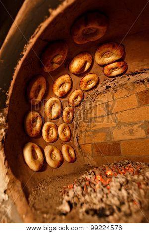 Process Of Cooking Tandoor Bread In National Tandoor Owen
