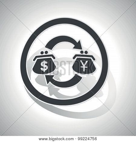 Dollar-yen trade sign sticker, curved
