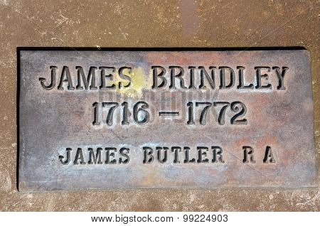 James Brindley memorial plaque.