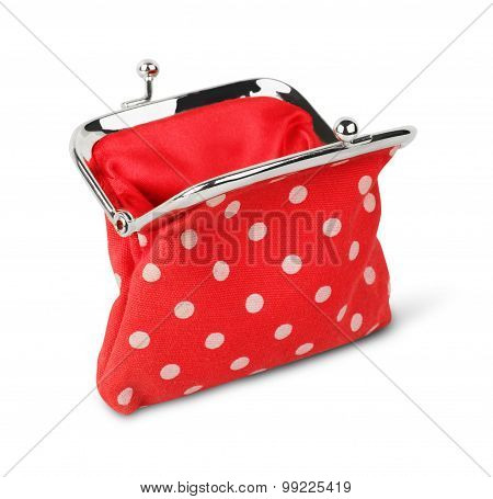 Red Open Purse, Wallet, Isolated On White With Path