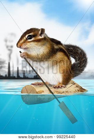 Animal Chipmunk Floating Away From The City Pollution, Ecology Concept