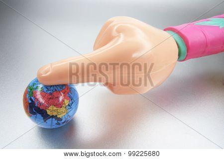 Plastic Hand And Globe