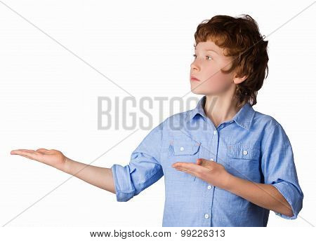 Handsome boy points with his hands. Isolated on white background
