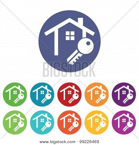 House key icons colored set