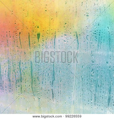 Waterdrops On A Glass - Abstract Background