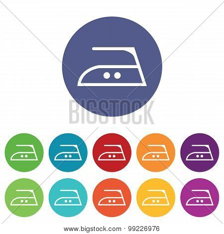 Middle ironing icons colored set