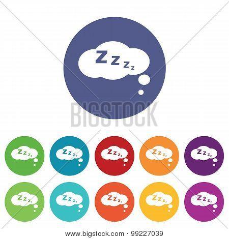 Sleeping icons colored set