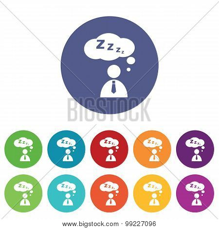 Sleeping person icons colored set