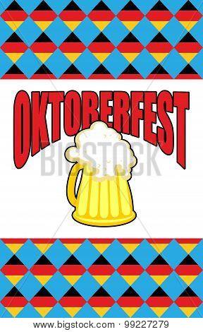 Mug Of Beer For Oktoberfest. Character Beer Festival Against Backdrop Of Rhombuses Of  German Flag.