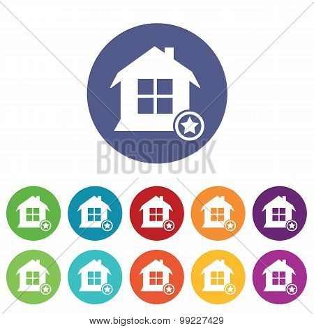 Favorite house icons colored set