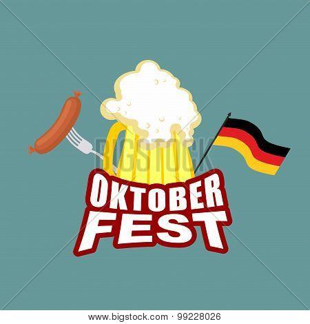 Oktoberfest Beer And Sausages. German Flag. Beer Festival. Vector Illustration