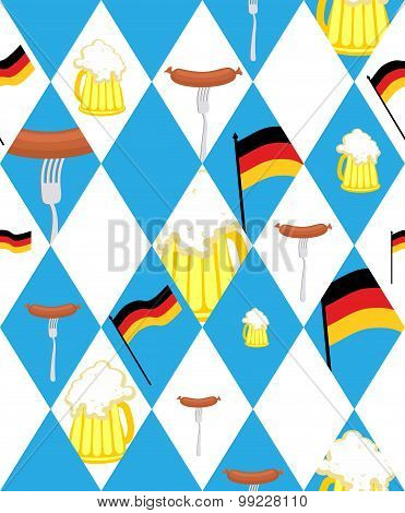 Oktoberfest Background. Mug Of Beer And Sausage, German Flag - Seamless Pattern Of Blue Rhombuses. V