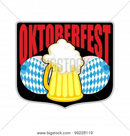 Sign, Logo For Oktoberfest. Womens Boobs And Mug Of Beer. Symbols Beer Festival In Germany.
