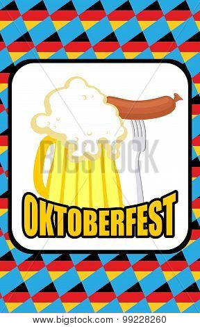 Oktoberfest. Mug Of Beer And Sausage On A Background Of Blue Rhombuses. Vector Illustration