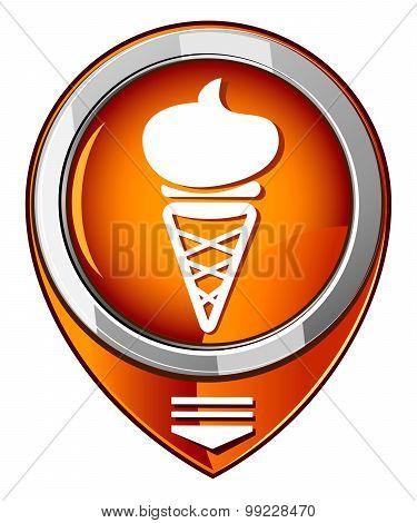Ice Cream. Single Orange Pointer. Vector Illustration.