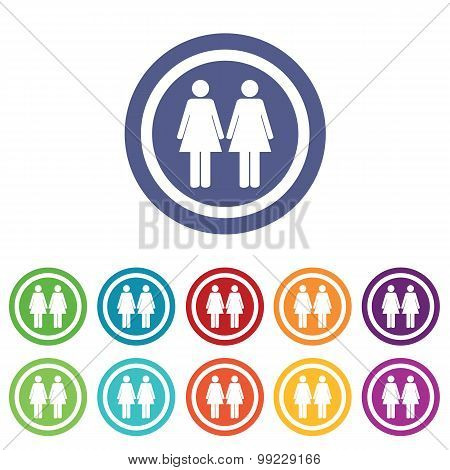 Two women signs colored set