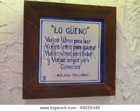 Wall Plaque In Malaga Bar