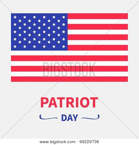 American Flag Patriot Day Background Flat Design Card Isolated