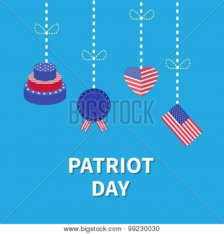 Hanging Heart, Flag, Cake,  Star And Strip Patriot Day Flat Design