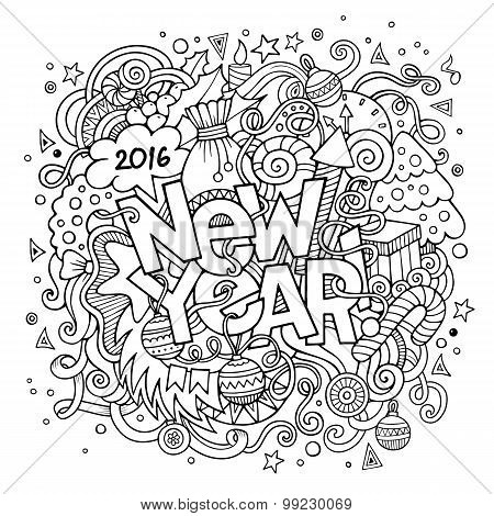 New year hand lettering and doodles elements background