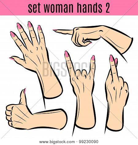 Set Of Woman Hands In Various Gestures. Vector Illustrations.