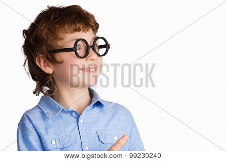 Portrait of handsome smiling boy in round glasses. Isolated on white background