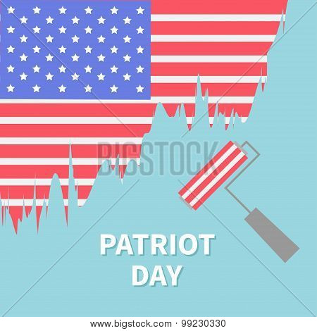 Paint Roller Brush Star And Strip Flag Patriot Day Flat Design