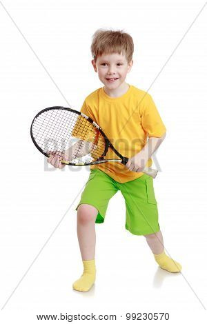Boy holding a tennis racket
