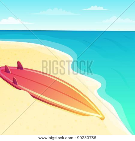 Beautiful beach seascape with surf board on the sand and blue ocean water background. Vector illustr