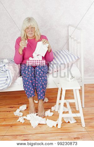 Sick Female Woman Sitting On Bed