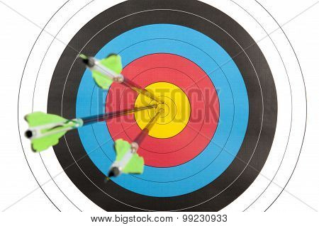 Archery Target Hit By Three Arrows