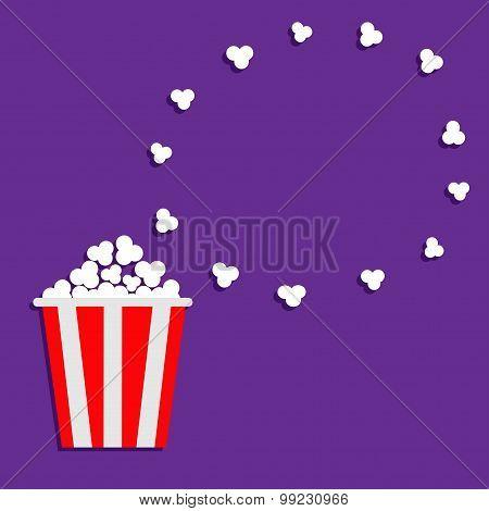 Popcorn Round Frame. Movie Cinema Icon In Flat Dsign Style. Violet Background