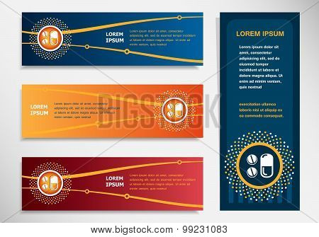 Pill Icon On Modern Abstract Flyer, Banner, Brochure Design Template