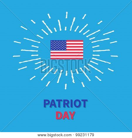 Flag Shining Effect Hpatriot Day Blue Background Card Flat Design