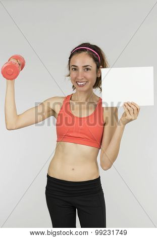 Fitness Woman Holding A Blank Banner